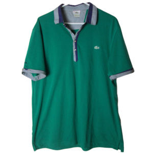vintage lacoste polo shirt green plaid logo rare